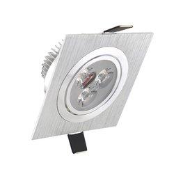 Niet dimbaar LED inbouwspot 3 watt zilver kantelbaar warm wit vierkant