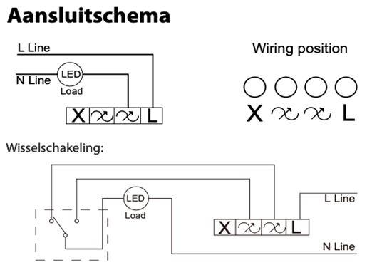 Aanslutschema LED dimmer