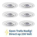Voordeel set 6 stuks LED Inbouw Spot 230 Volt Dimbaar Wit_