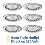 Voordeel set 6 stuks LED Inbouw Spot 230 Volt Dimbaar Nikkel_