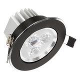 Mooie Design Led Inbouwspots 3 watt zwart met mooi afgewerkt zilveren rand, kantelbaar en warm witte lichtkleur_