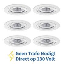 Voordeel set 6 stuks LED Inbouw Spot 230 Volt Dimbaar Wit