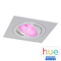 HUE Philips White & Color GU10 LED Inbouw spot Vierkant Inês Aluminium Geborsteld