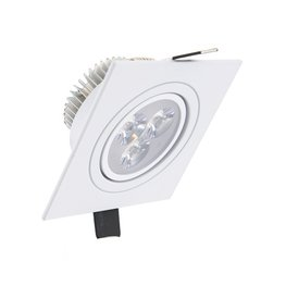 Niet dimbare vierkante LED inbouwspot 3 watt in witte uitvoering is kantelbaar en geeft warm wit licht