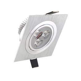 Dimbaar LED inbouwspot 3 watt zilver kantelbaar warm wit vierkant