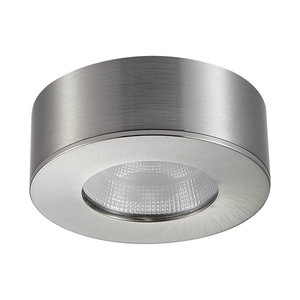 LED Opbouw Spot Dimbaar Badkamer Geschikt IP 44 Extra Warm Wit 2700 Kelvin 5 Watt vervangt 75 Watt Opbouw Hoogte ↕ 30 mm Nikkel behuizing.