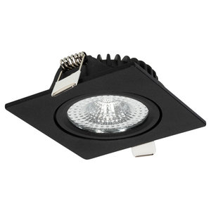 *230Volt Geen Trafo Nodig* Badkamer Geschikt IP 44  Extra Warm Wit 2700 Kelvin  5 Watt vervangt 75 Watt  Inbouw Diepte ↕ 23 mm  Zwarte behuizing. Vierkante LED Inbouw Spot Dimbaar