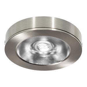 LED Opbouw Spot Dimbaar Badkamer Geschikt IP 44 Extra Warm Wit 2700 Kelvin 7 Watt vervangt 100 Watt Voor Vierkante Centraaldoos Opbouw Hoogte ↕ 20 mm Nikkel