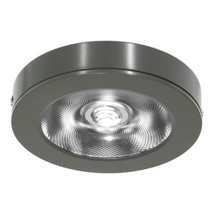 LED Opbouw Spot Dimbaar Badkamer Geschikt IP 44 Extra Warm Wit 2700 Kelvin 7 Watt vervangt 100 Watt Voor Vierkante Centraaldoos Opbouw Hoogte ↕ 20 mm Grijs