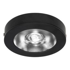 LED Opbouw Spot Dimbaar Badkamer Geschikt IP 44 Extra Warm Wit 2700 Kelvin 7 Watt vervangt 100 Watt Voor Vierkante Centraaldoos Opbouw Hoogte ↕ 20 mm Zwart