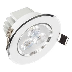 Mooie Design InbouwLEDspot 3 watt Wit met Zilver Dimbaar warm wit en kantelbaar