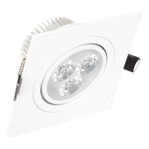 LED Inbouw Spot Dimbaar Speciaal voor binnen IP 21 Extra Warm Wit 2700 Kelvin 3 Watt vervangt 50 Watt Inbouw Diepte ↕ 45 mm Witte behuizing.