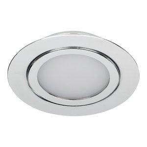 Dimbare 3 watt Extreem lage ronde (15 mm) mini LED inbouw spot in chromen behuizing, IP44 ook voor in de badkamer.