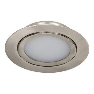 Dimbare 3 watt Extreem lage ronde (15 mm) mini LED inbouw spot in nikkel behuizing, IP44 ook voor in de badkamer.