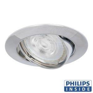 Philips Dim Tone LED Inbouw spot 4,9 watt kantelbaar 50 mm rond glimmend aluminium in afgeronde behuizing