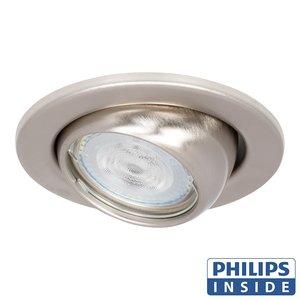 Philips LED Inbouw spot 5 watt kantelbare bol 50 mm rond aluminium mat