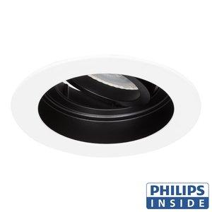 Philips LED Inbouw spot 5 watt kantelbaar 50 mm rond wit met zwart