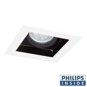 Philips LED Inbouw spot 5 watt kantelbaar 50 mm vierkant wit met zwart