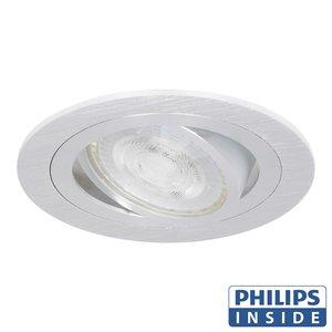 Philips LED Inbouw spot 5 watt kantelbaar 50 mm rond aluminium geborsteld