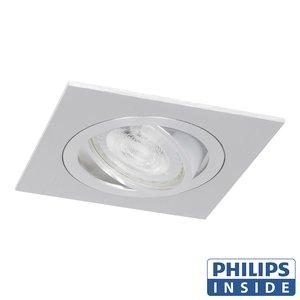 Philips LED Inbouw spot 5 watt kantelbaar 50 mm vierkant aluminium geborsteld