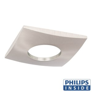 Philips  LED Inbouw spot 5 watt niet kantelbaar badkamer vierkant aluminium mat IP44