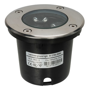 LED grondspot 3 watt zilver IP65