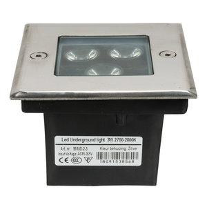 LED grondspot 3 watt vierkant zilver IP65