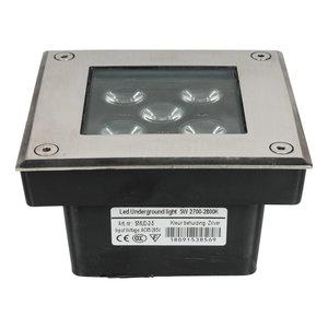 LED grondspot 5 watt vierkant zilver IP65