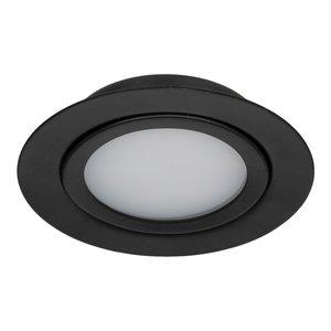 Dimbare 5 watt Extreem lage ronde (15 mm) mini LED inbouw spot in zwarte behuizing, IP44 ook voor in de badkamer.