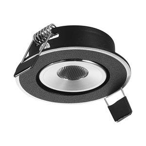 LED Inbouw Spot Dimbaar Speciaal voor binnen IP 21 Extra Warm Wit 2700 Kelvin    1 Watt vervangt 20 Watt  Inbouw Diepte ↕ 30 mm Zwart & Zilveren behuizing.