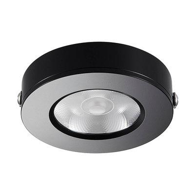 LED Opbouw Spot Dimbaar Badkamer Geschikt IP 44 Extra Warm Wit 2700 Kelvin 5 Watt vervangt 75 Watt Opbouw Hoogte ↕ 20 mm Zwarte behuizing.