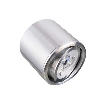 Dimbare cilinder vormige LED opbouw spot 3 watt in zilver / chroom behuizing.