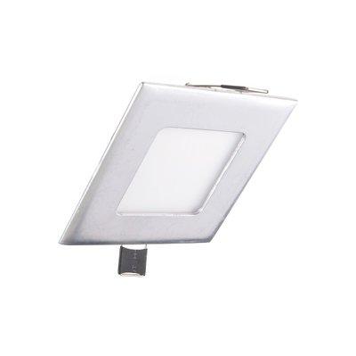 Niet dimbare Extreem lage (25mm) inbouwdiepte. Vierkante niet dimbare LED inbouwspots 3 watt in zilver / chroom behuizing, ook voor badkamer.
