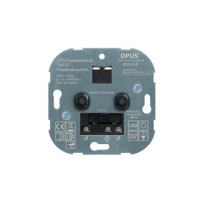 OPUS® DUO LED dimmer twee keer 3 - 40 watt - Maximaal 2 x 10 spots van 3 watt