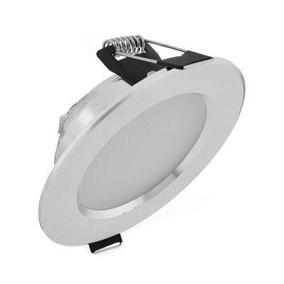 Dimbare LED inbouwspot 5 watt in zilver uitvoering, geeft mooi warm wit licht
