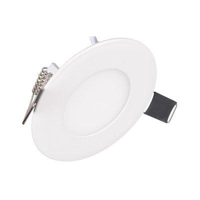 Dimbare Extreem lage (25mm) inbouwdiepte. Ronde Dimbare LED inbouwspot 6 watt in witte behuizing, ook voor badkamer.