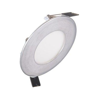 Dimbare Extreem lage (25mm) inbouwdiepte. Ronde Dimbare LED inbouwspot 6 watt in zilveren behuizing, ook voor badkamer.
