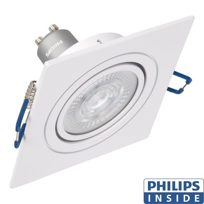 Led Inbouw spot 4,9 watt kantelbaar 50 mm vierkant wit