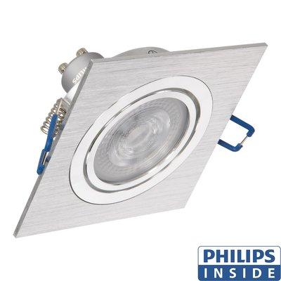 Led Inbouw spot 4,9 watt kantelbaar 50 mm vierkant aluminium geborsteld