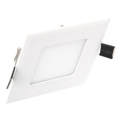 Dimbare Extreem lage (25mm) inbouwdiepte. Vierkante dimbare LED inbouwspots 3 watt in witte behuizing, ook voor badkamer.