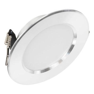 LED Inbouw Spot Dimbaar Badkamer Geschikt IP 44 Extra Warm Wit 2700 Kelvin 5 Watt vervangt 75 Watt Inbouw Diepte ↕ 35 mm Zilveren behuizing.