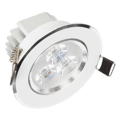Mooie Design InbouwLEDspot 3 watt Wit met Zilver NIET Dimbaar en kantelbaar, geeft sfeervol warm wit licht