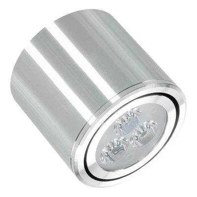Niet dimbare cilinder vormige LED opbouw spot 3 watt in zilver / chroom behuizing.