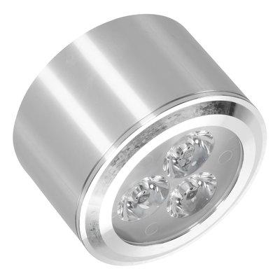Lage niet dimbare cilinder vormige LED opbouw spot 3 watt in zilver / chroom behuizing, niet kantelbaar