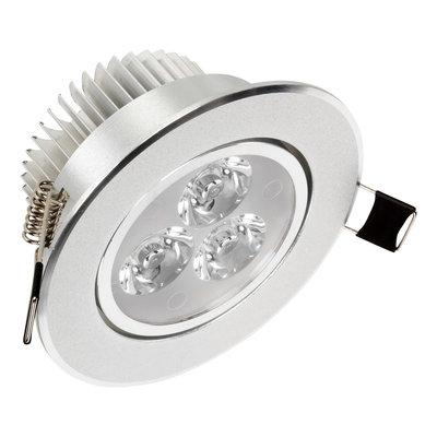 LED Inbouw Spot Dimbaar Speciaal voor binnen IP 21 Extra Warm Wit 2700 Kelvin 3 Watt vervangt 50 Watt Inbouw Diepte ↕ 45 mm Zilveren behuizing.