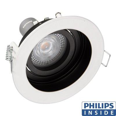 Dim Tone Led Inbouw spot 4,9 watt kantelbaar 50 mm rond wit met zwart