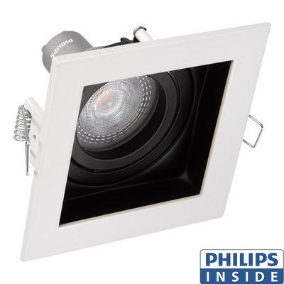 Dim Tone Led Inbouw spot 4,9 watt kantelbaar 50 mm vierkant wit met zwart