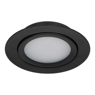 Dimbare 3 watt Extreem lage ronde (15 mm) mini led inbouw spot in zwarte behuizing, IP44 ook voor in de badkamer.