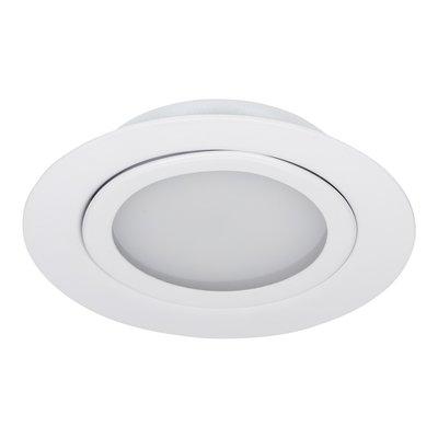 Niet Dimbare 3 watt Extreem lage ronde (15 mm) mini led inbouw spot in witte behuizing, IP44 ook voor in de badkamer.