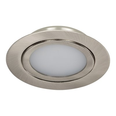 Niet Dimbare 3 watt Extreem lage ronde (15 mm) mini LED inbouw spot in nikkel behuizing, IP44 ook voor in de badkamer.